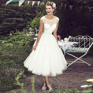 a line bateau cap sleeves mid calf tulle hall wedding With mid calf wedding dresses