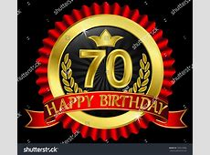 70 Years Happy Birthday Golden Label With Ribbons, Vector