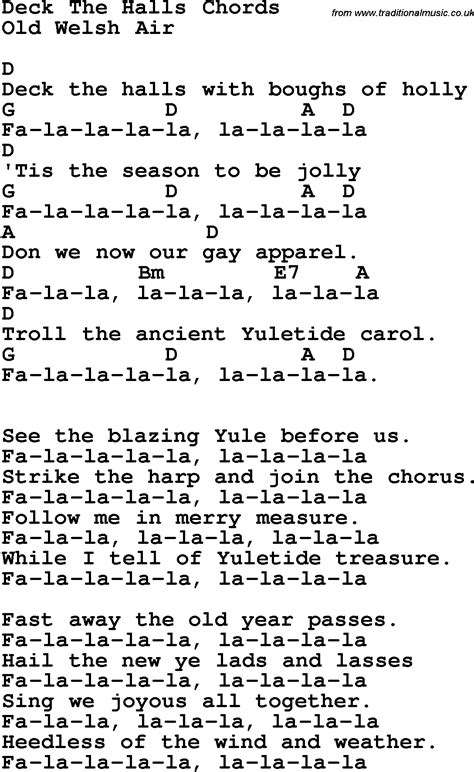 song lyrics with guitar chords for deck the halls