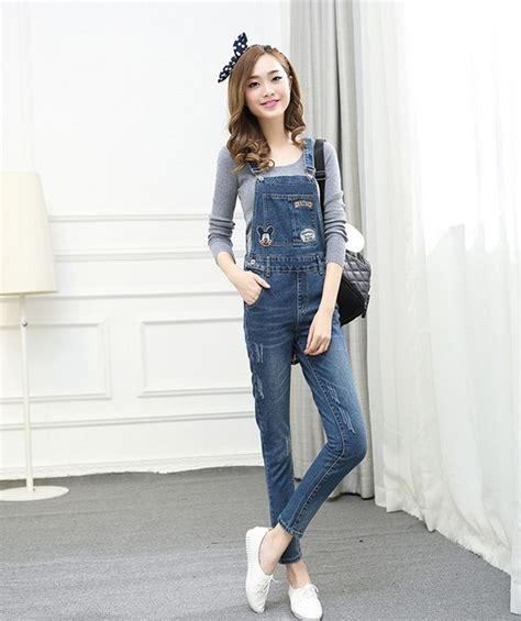 2015 Fashion Korean New Women Jumpsuit Denim Overalls Casual Skinny Girls Pants Jeans Cute Mouse ...