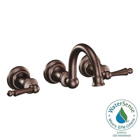 moen waterhill wall mount 2 handle high arc bathroom faucet trim kit in rubbed bronze valve