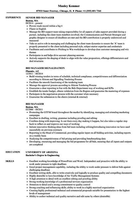 bid manager bid manager resume sles velvet