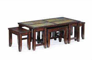 rustic rectangle coffee table with ottoman stools With square coffee table with stools underneath