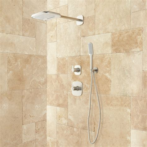 brushed nickel cabinet door arin thermostatic shower system with rainfall shower