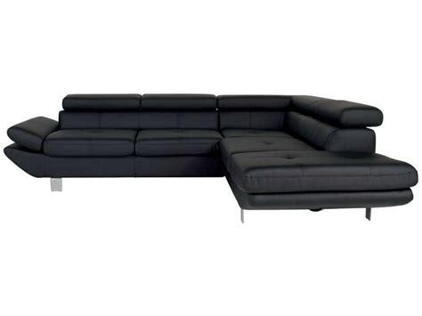 canapé d 39 angle fixe droit 5 places loft coloris noir en pu