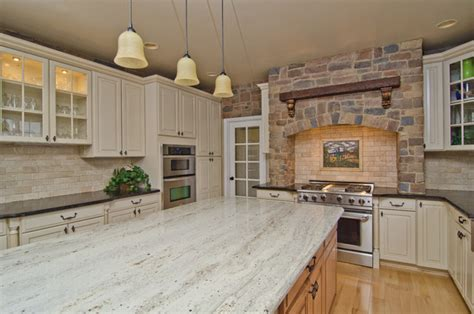 leathered antique brown granite and river valley granite