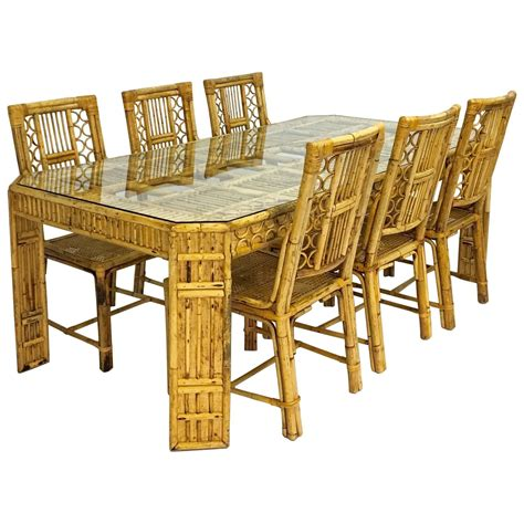 mid century bamboo and rattan dining table and six chairs