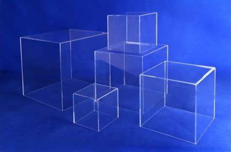 clear acrylic  sided cube display boxed risers acrylic
