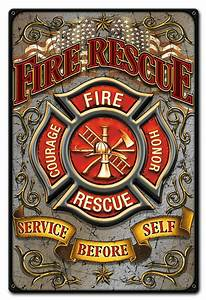 Fire, Rescue, Metal, Sign, 12, X, 18, Inches