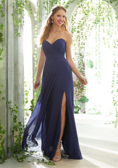 strapless chiffon bridesmaid dress with draped sweetheart