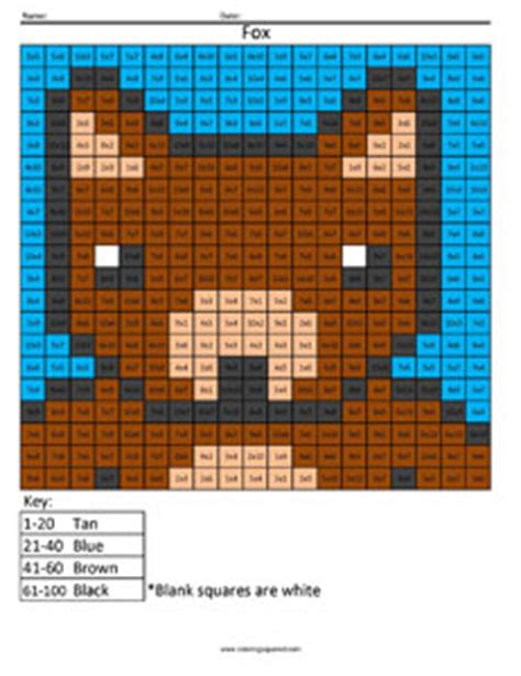 fox advanced multiplication coloring squared
