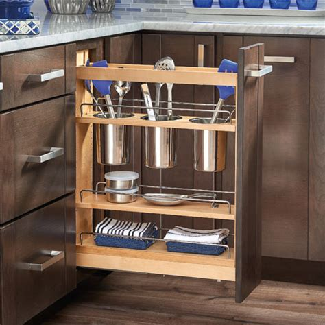Base Cabinet Pullout Utensil Organizer With Blumotion Soft