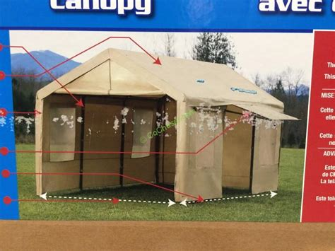 canopy    steel frame tan cover  side walls costcochaser