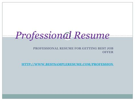 sle resume powerpoint presentation sle resume