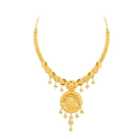 necklaces round shape with centered flower design gold necklace grt jewellers