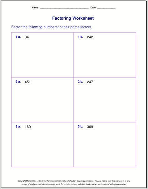 free worksheets for prime factorization find factors of a number