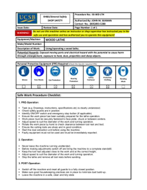 Work Procedures Template by Safe Work Procedure Template