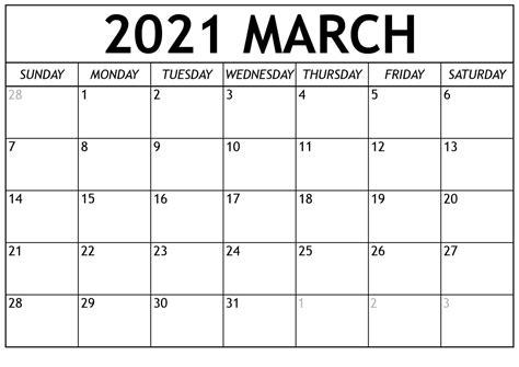 Blank March 2021 Calendar Editable Templates - Printable ...