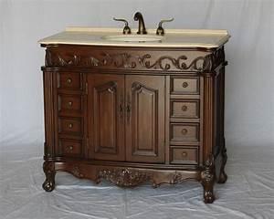 42, U0026quot, Adelina, Antique, Style, Single, Sink, Bathroom, Vanity, In, Walnut, Finish, With, Beige, Stone, Countertop