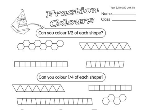 fractions of shapes a year 3 fractions worksheet
