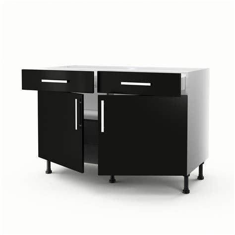 meuble de cuisine 120 cm meuble de cuisine bas noir 2 portes 2 tiroirs délice h 70 x l 120 x p 56 cm leroy merlin