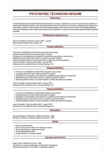 sample psychiatric technician resume