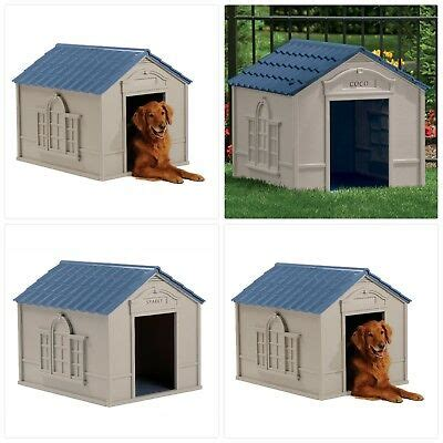 deluxe extra large pet dog cat house home outdoor cage durable resin  weather  ebay