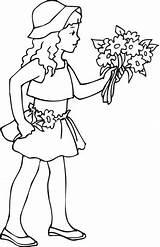 Holding Coloring Flowers Drawing Bouquet Nina Printable Rose Fille Hand Colorear Jeune Kleurplaat Tient Sac Anime Coloriage Fleurs Wc Pot sketch template