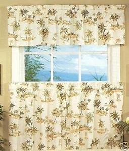 palm tree kitchen curtains tiers and swags Spice Island