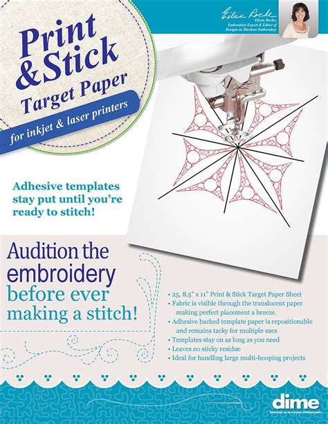 print stick target paper designs  machine embroidery