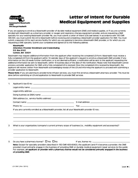 letter  intent  durable medical equipment