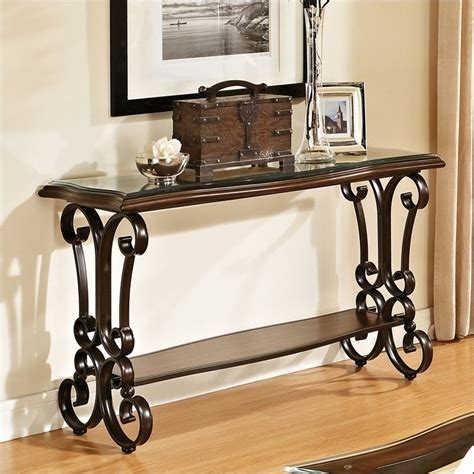cherry sofa table with glass top steve silver company hayward sofa table in cherry with