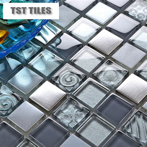 Mirror Tiles 12x12 Centerpieces by Glass Mosaics Blue Silver Gold Foil Tile Kitchen