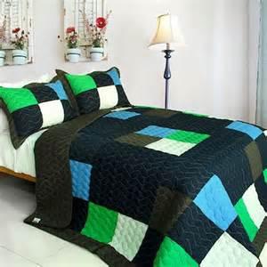 minecraft style teen boy bedding full queen quilt set