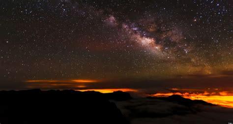 island   sky time lapse video captures stars
