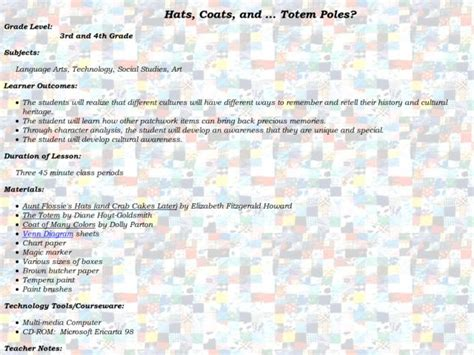 Hats, Coats, And...totem Poles? Lesson Plan For 4th
