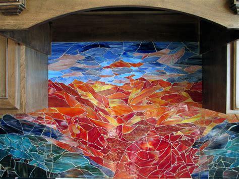 glass mosaic sunset mural designer glass mosaics
