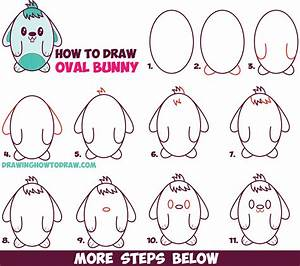 How to Draw a Cute Cartoon Bunny Rabbit from an Oval ...