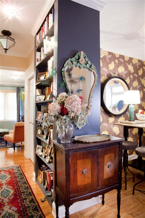 bohemian condo eclectic hall chicago  lisa wolfe design