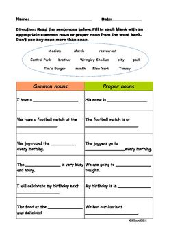 common nouns and proper nouns fill in the blanks