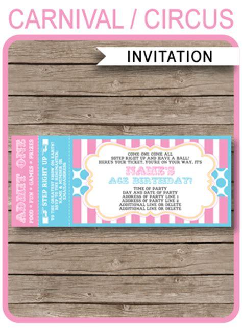 carnival event invitation ticket template carnival ticket invitations template carnival circus pink aqua
