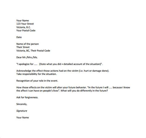 sample formal apology letter    documents
