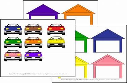 Matching Activity Garage Colors Preschool Folder Cars