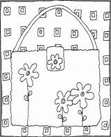 Purse Coloring Pages Flowers Things sketch template