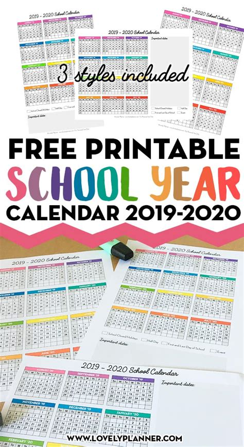 printable page school calendar printable lovely