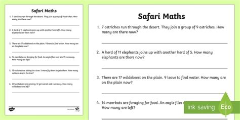 safari themed maths word problems mixed   safari