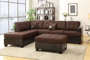 Brown leather sectional sofa and ottoman steal a sofa for Chocolate leather sectional sofa and ottoman