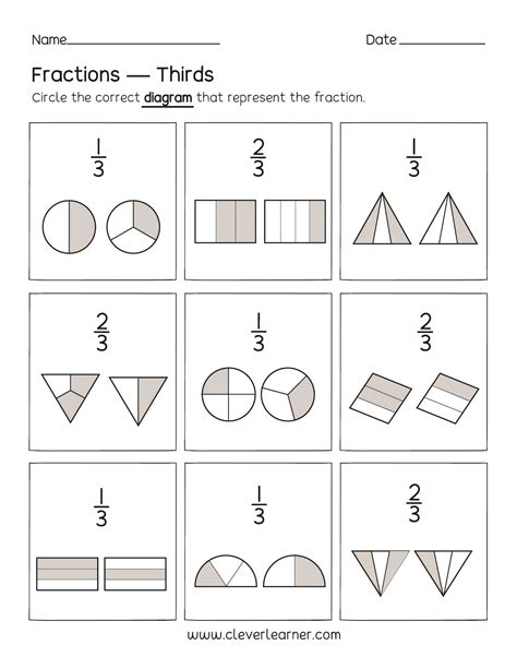 fun activity fractions thirds worksheets for children