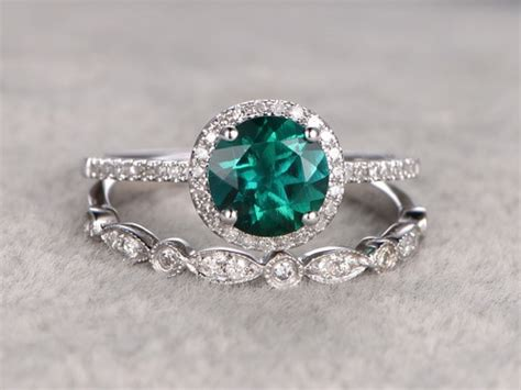 1.2 Carat Round Emerald Engagement Ring Set Diamond