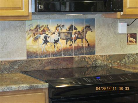 decorative tile  horses wildfire tile mural